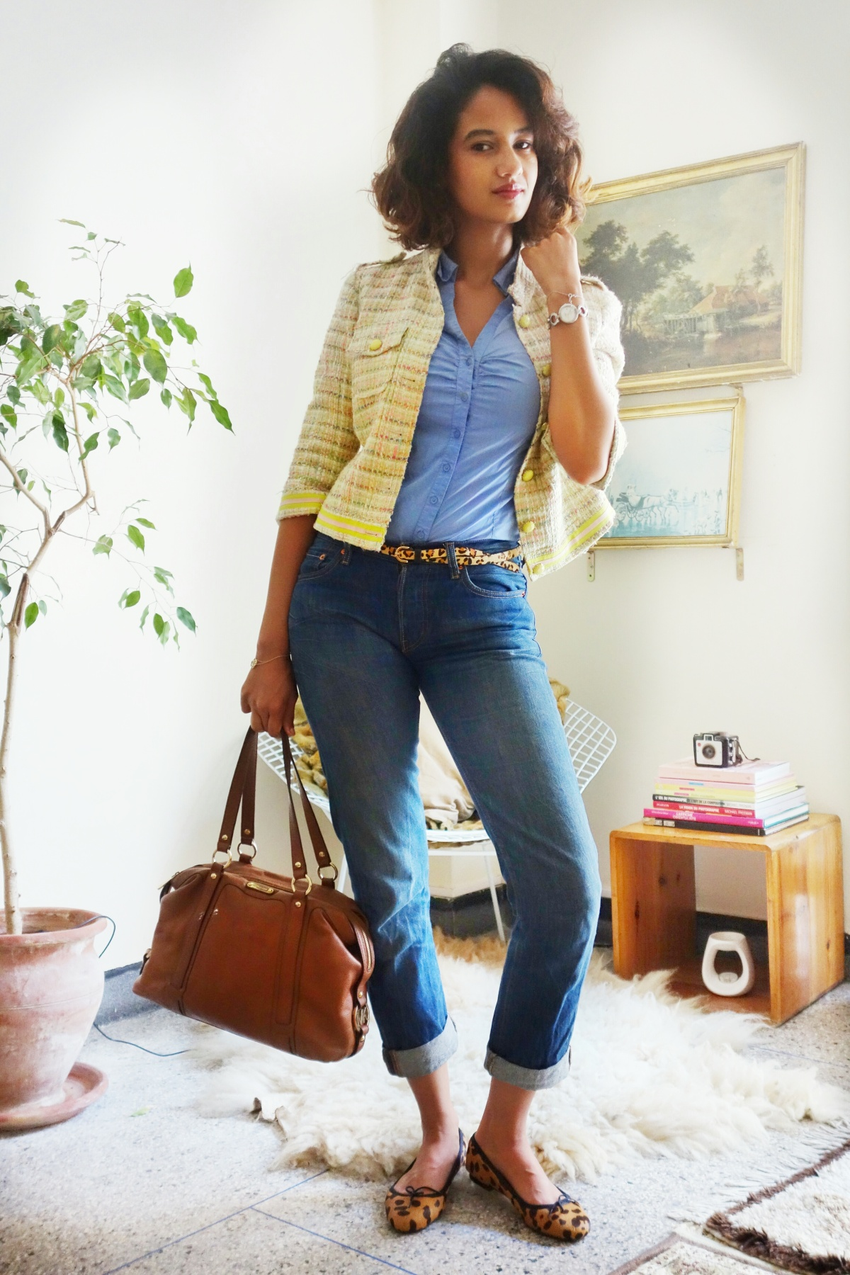 Boyfriend jeans office OOTD 2